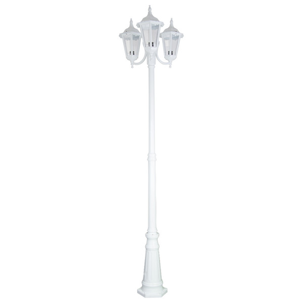 GT-1078 Chester Triple Head Curved Arm Tall Post Light - Powder Coated Finish / B22