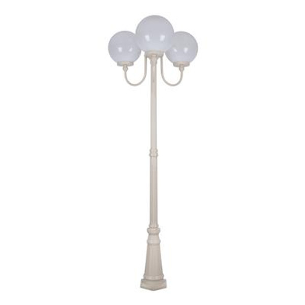GT-625 Lisbon Triple 30cm Spheres Curved Arms Tall Post Light - Powder Coated Finish / E27