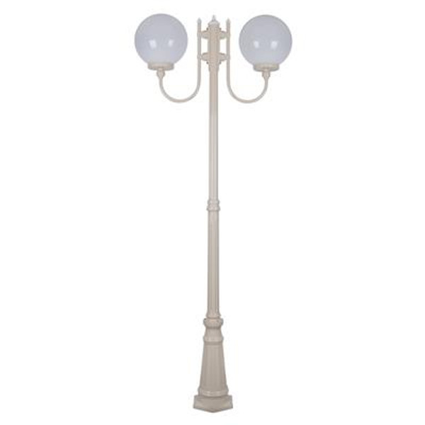 GT-621 Lisbon Twin 30cm Spheres Curved Arms Tall Post Light - Powder Coated Finish / E27