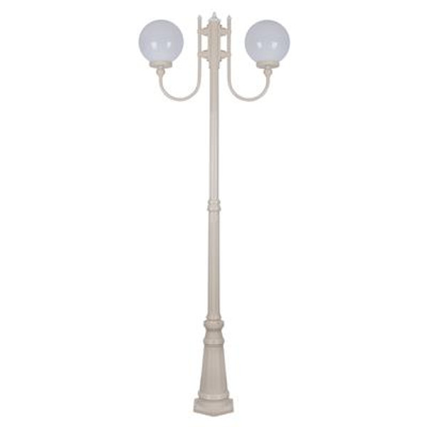 GT-620 Lisbon Twin 25cm Sphere Curved Arms Tall Post Light - Powder Coated Finish / E27