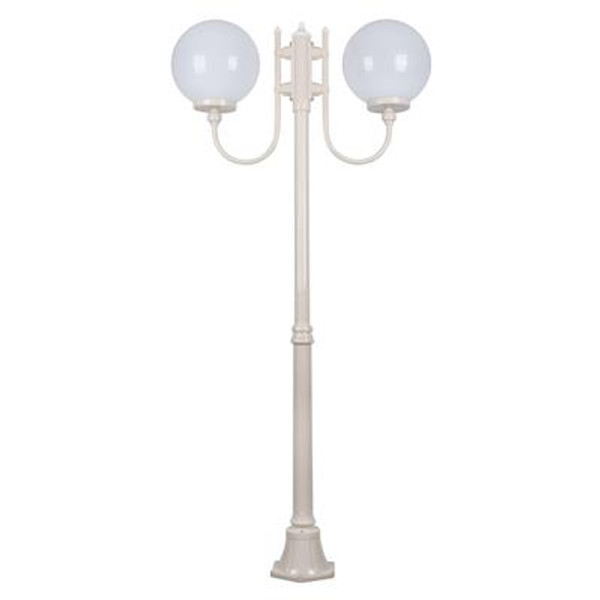 GT-615 Lisbon Twin 30cm Sphere Curved Arms Medium Post Light - Powder Coated Finish / E27