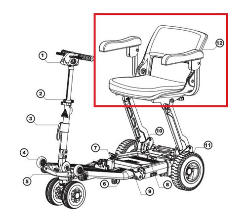 Luggie Seat Assembly.  #12 on diagram.  Armrests NOT included.