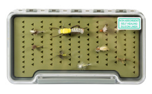 Thin Clear fly box 7.35x3.75x.6 with silicone liner FG1318SH
