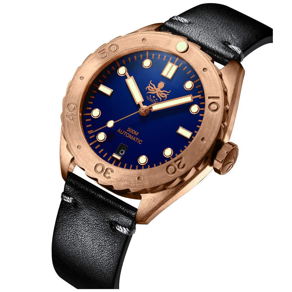 PHOIBOS EAGLE RAY BRONZE PY018B 500M Automatic Diver Watch Blue Limited Edition