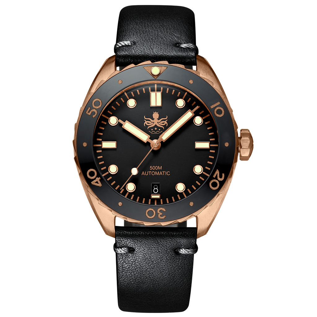 PHOIBOS EAGLE RAY BRONZE PY018D 500M Automatic Diver Watch Black