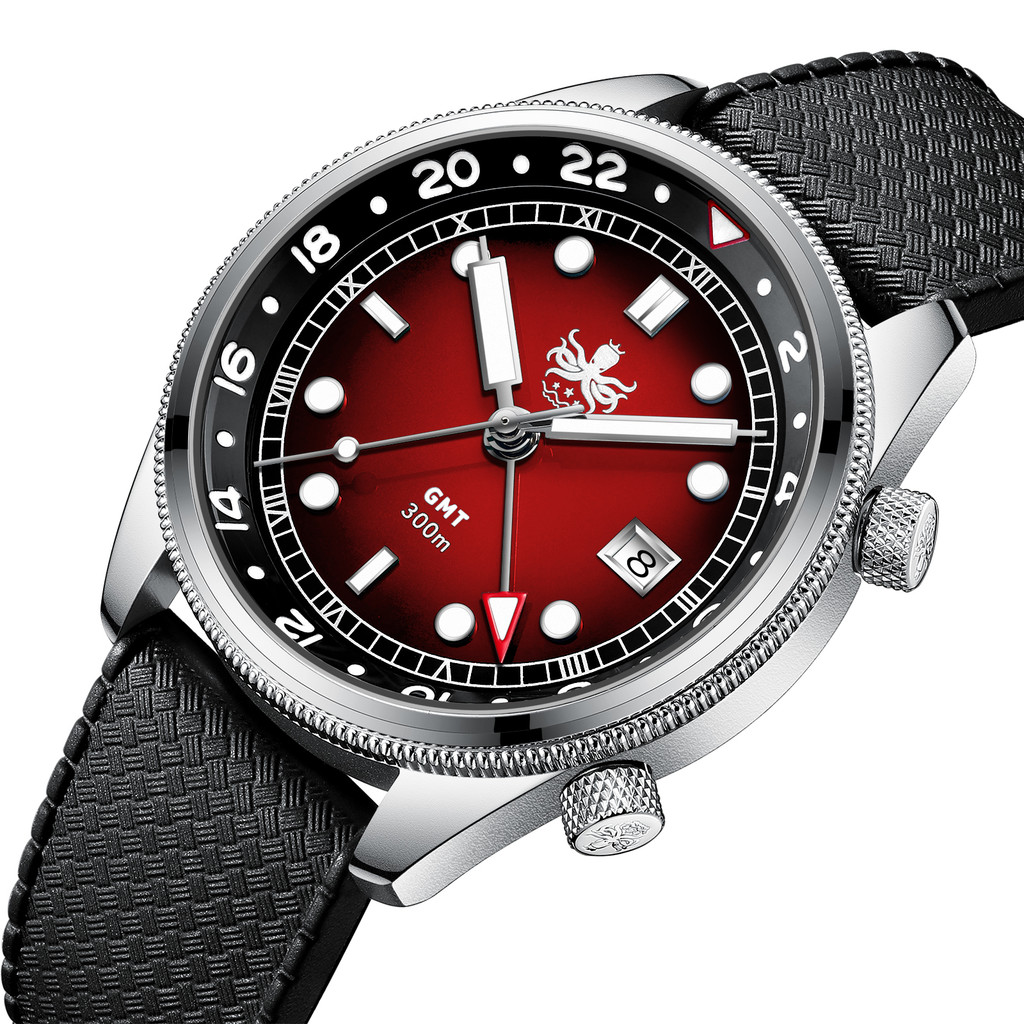 PHOIBOS EAGLE RAY GMT PX023E 300M Dive Watch Red