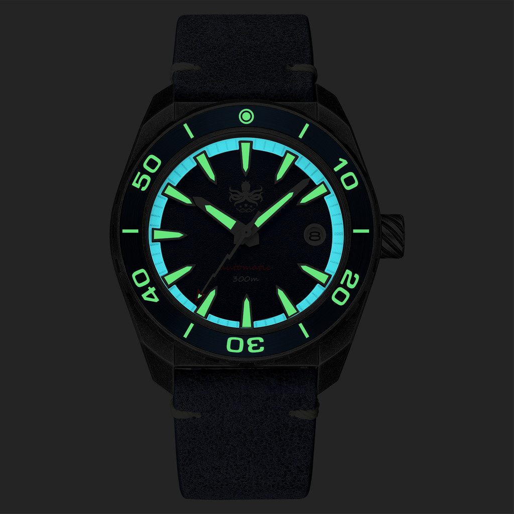 PHOIBOS Proteus 300M Automatic Diver Watch PY028D Black Forged Carbon