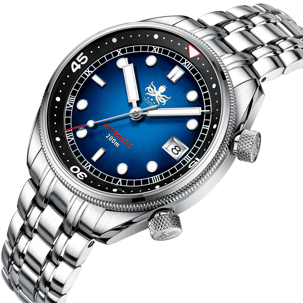 PHOIBOS EAGLE RAY  200M Automatic Compressor Dive Watch PY029B Blue