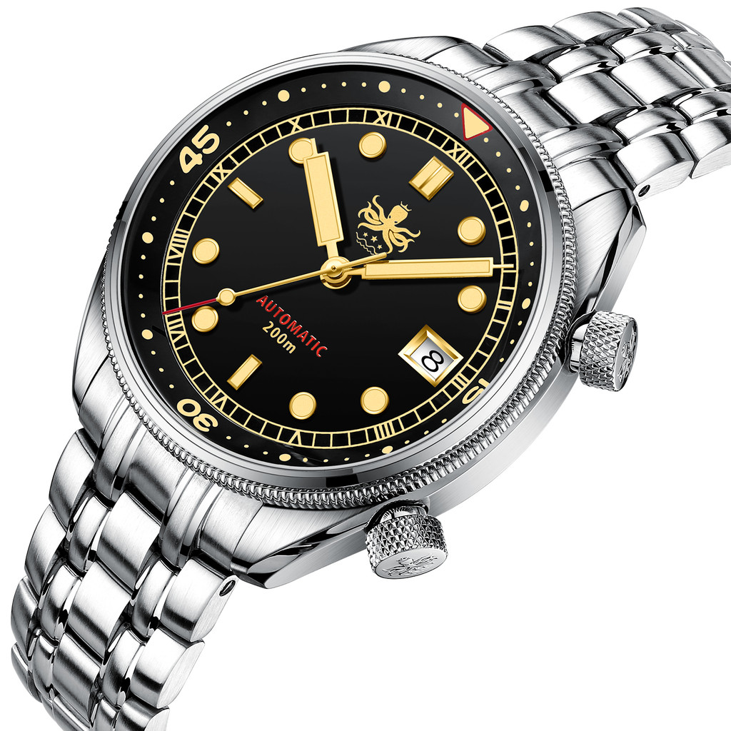 PHOIBOS EAGLE RAY  200M Automatic Compressor Dive Watch PY029D Black&Gold