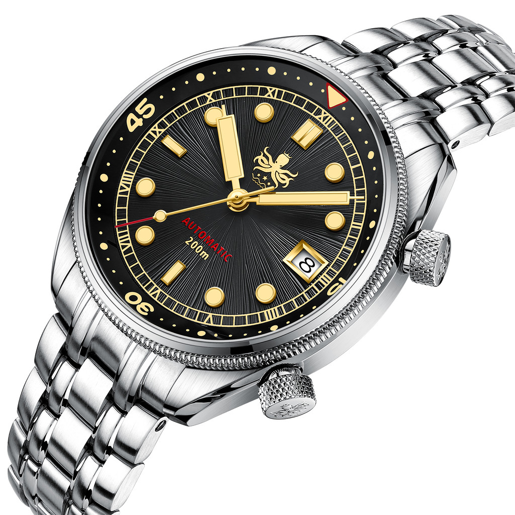 PHOIBOS EAGLE RAY 200M Automatic Compressor Dive Watch PY039D Black&Gold