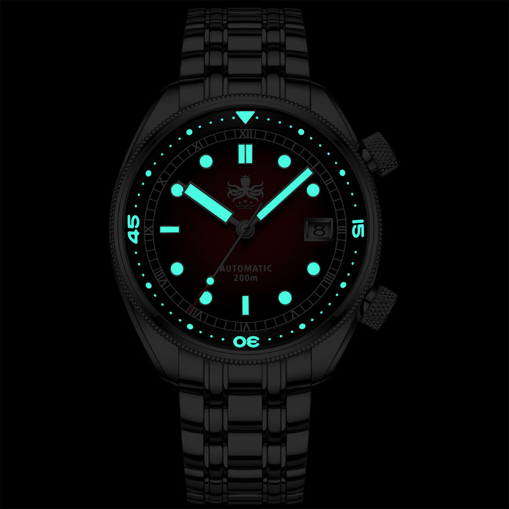 PHOIBOS EAGLE RAY 200M Automatic Compressor Dive Watch PY039E Red