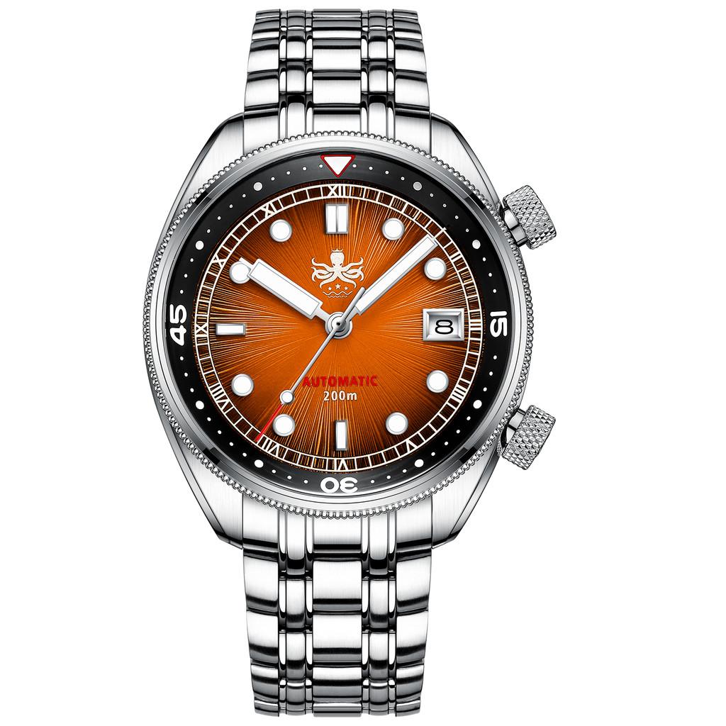 PHOIBOS EAGLE RAY 200M Automatic Compressor Dive Watch PY039F Orange