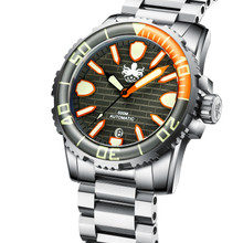 PHOIBOS GREAT WALL 500M Automatic Diver Watch PY022D Grey-Orange (PY022D)