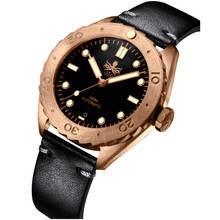 PHOIBOS EAGLE RAY BRONZE PY018C 500M Automatic Diver Watch Black Limited Edition