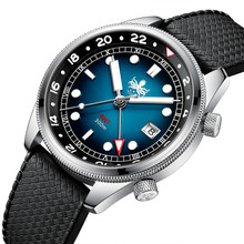 PHOIBOS EAGLE RAY GMT PX023B 300M Dive Watch Blue