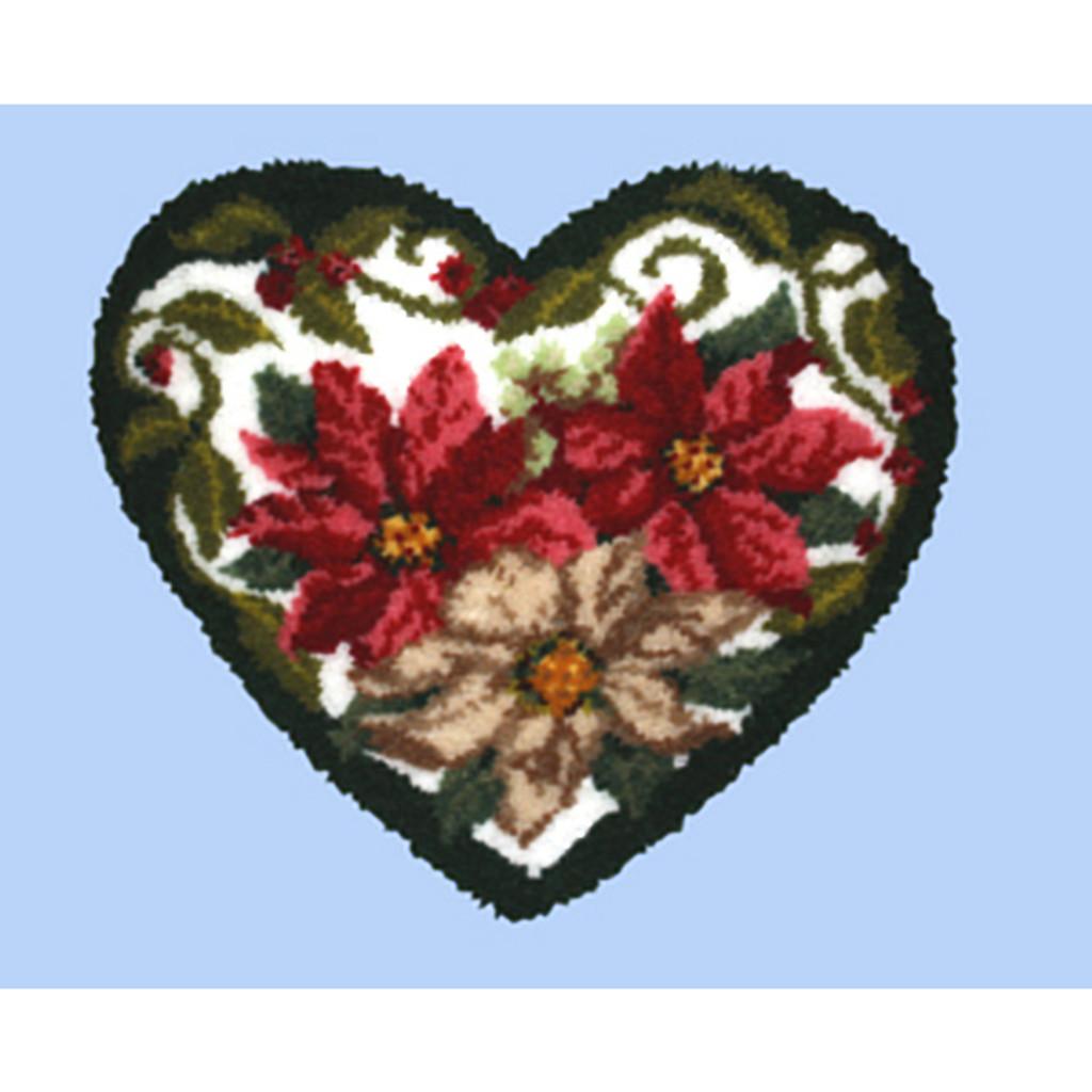 Winter Floral Heart Shape Latch Hook Kit