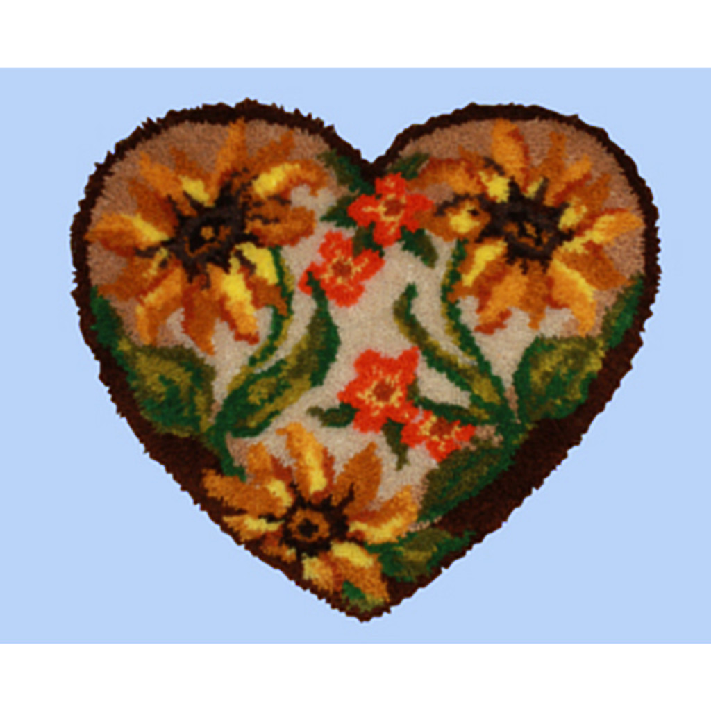 Autumn Floral Heart Shape Latch Hook Kit