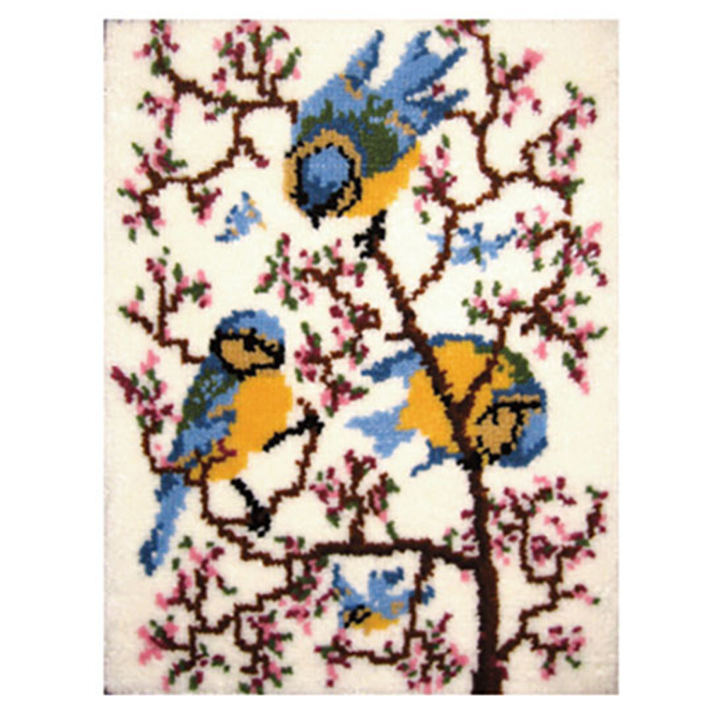 Springtime Bluebirds Latch Hook Rug Kit
