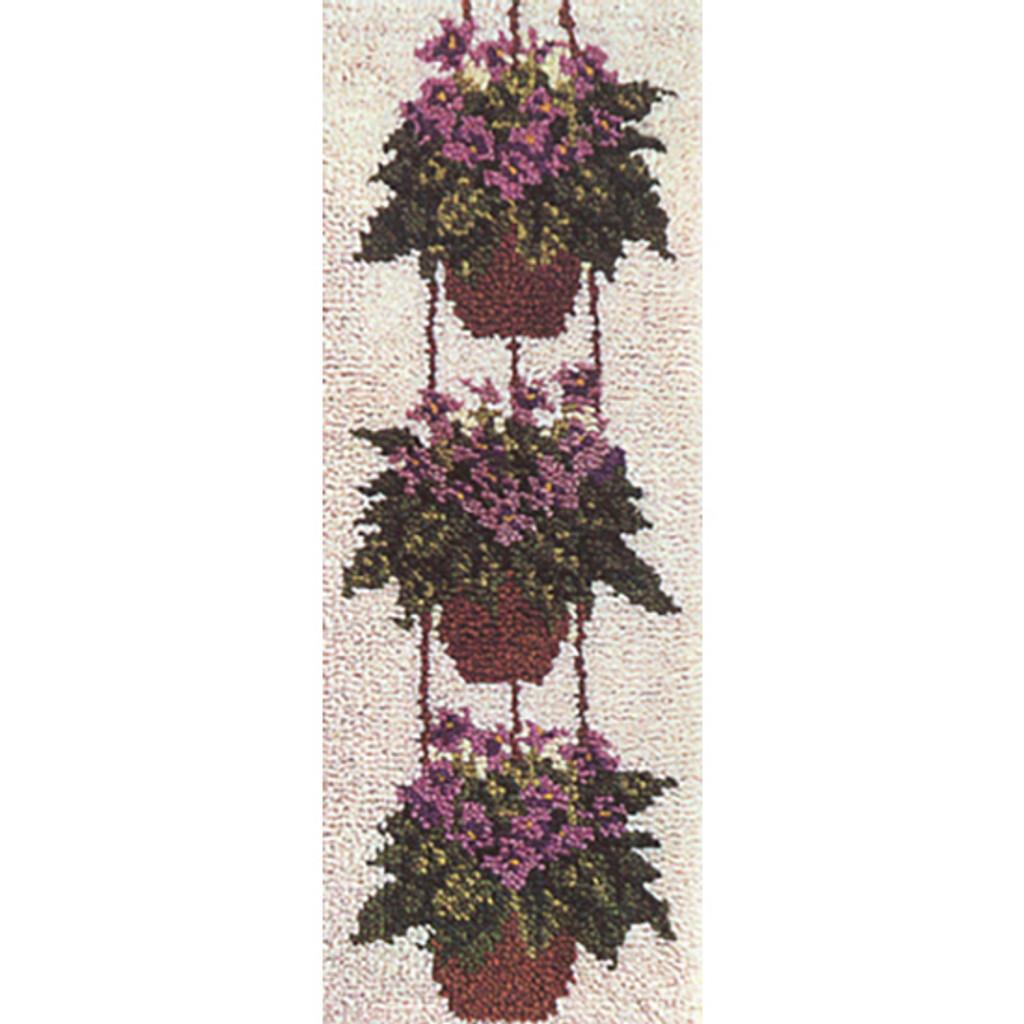 African Violets Latch Hook Rug Kit