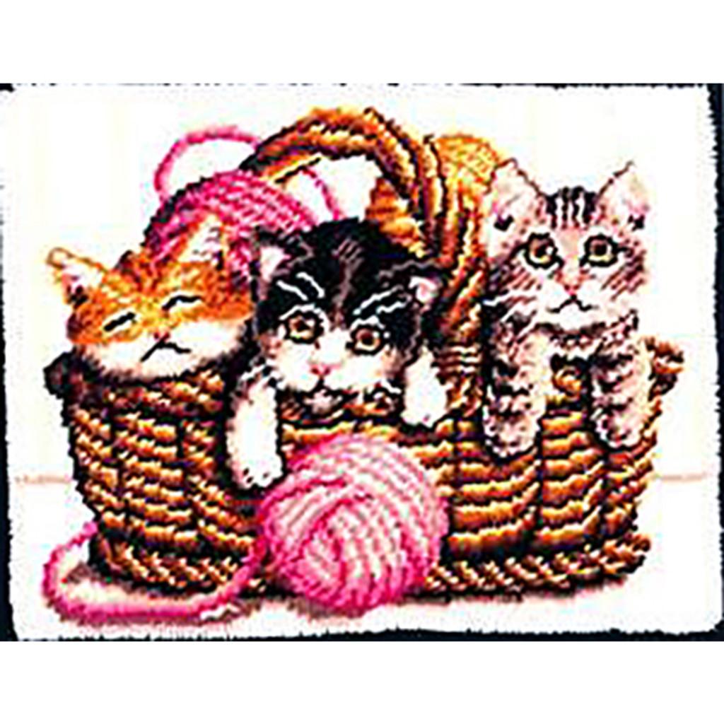Kittens in a Basket Latch Hook Rug Kit