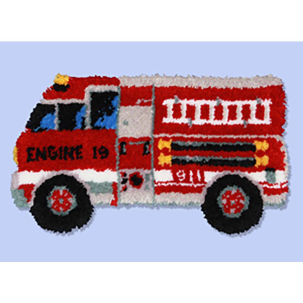 Firetruck Latch Hook Rug Kit