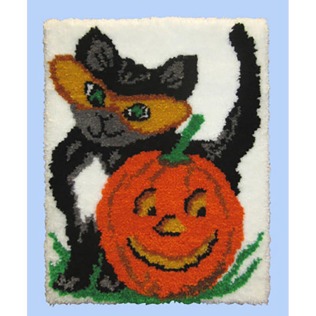 Halloween Cat Latch Hook Rug Kit