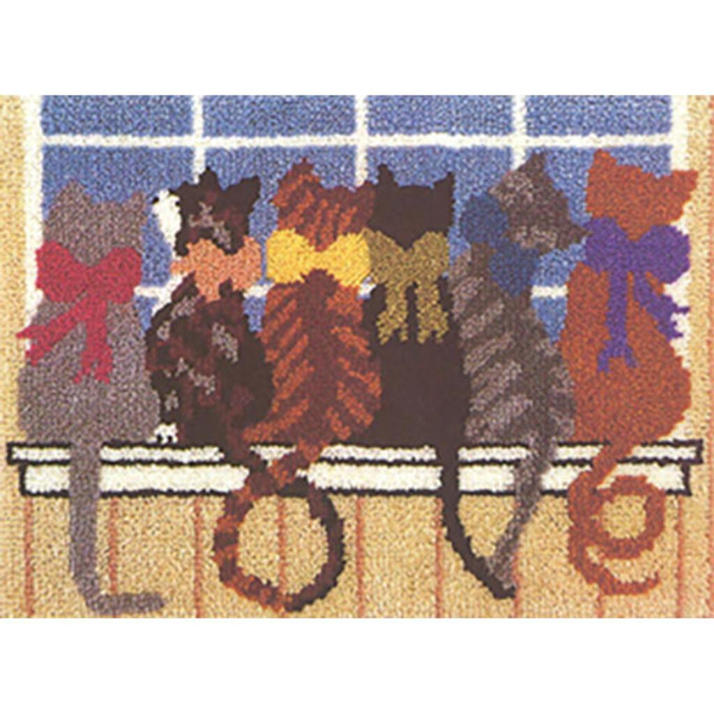 Love Cats Latch Hook Rug Kit
