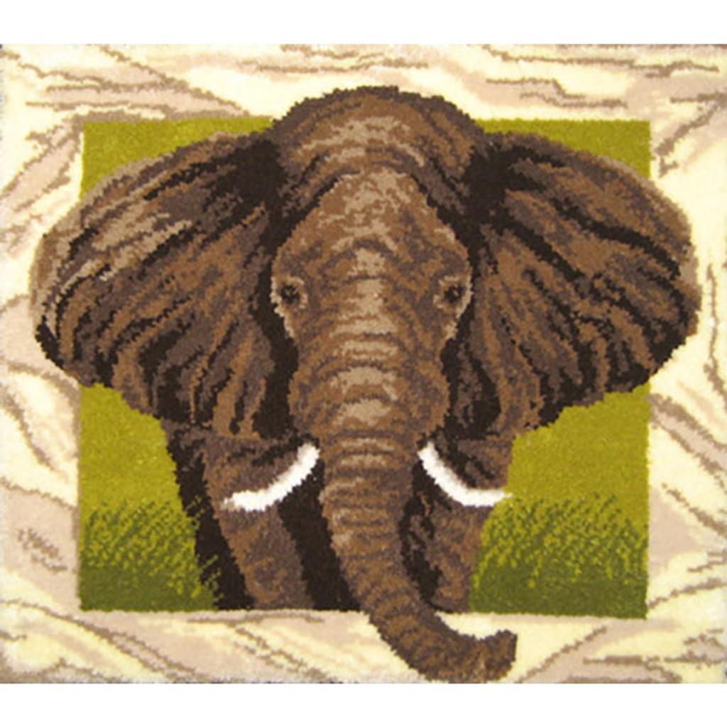 Elephant Portrait Latch Hook Rug Kit