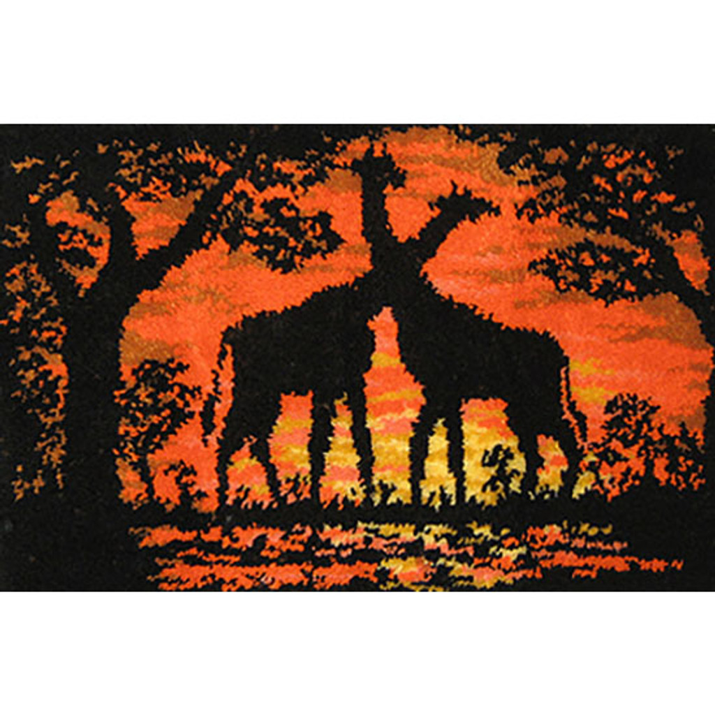 Giraffes at Sunset Latch Hook Rug Kit