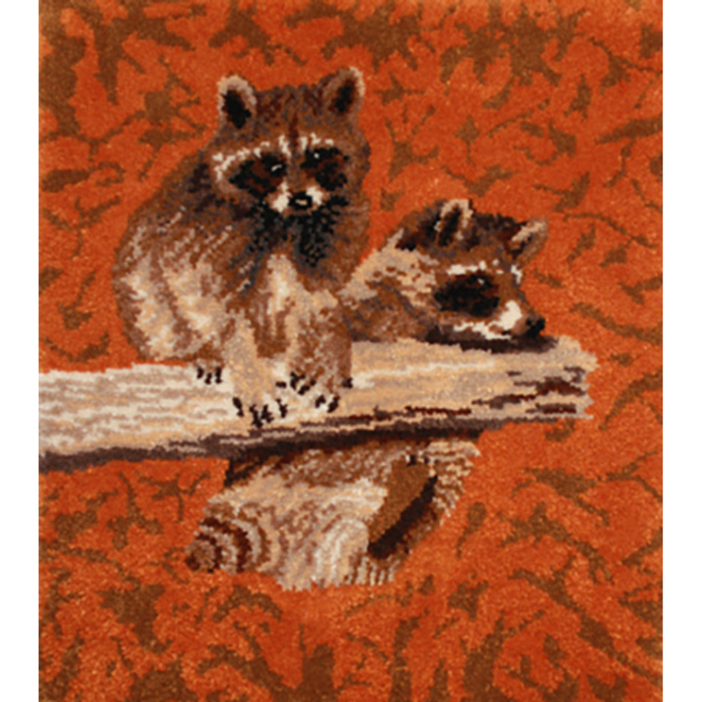 Clowning Raccoons Latch Hook Rug Kit