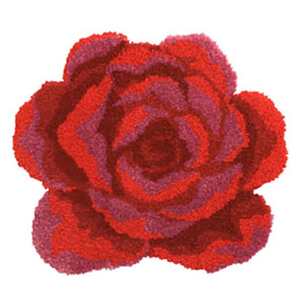Red Rose Shaped Latch Hook Rug Kit