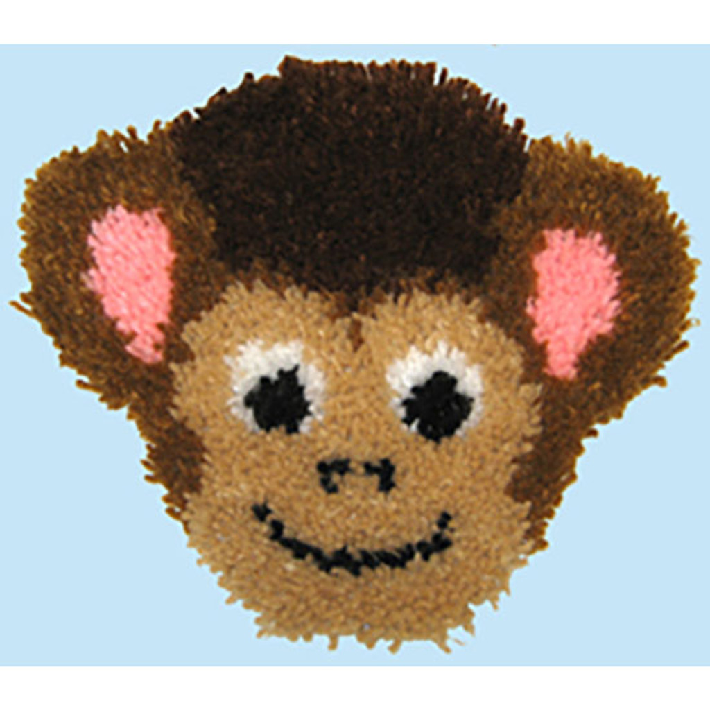 Monkey Latch Hook Pillow Kit