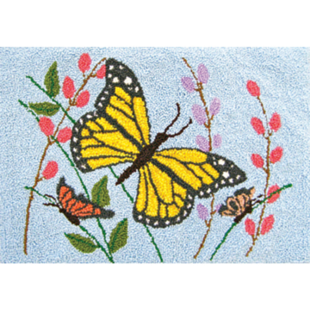 Butterflies Punch Needle Rug Kit