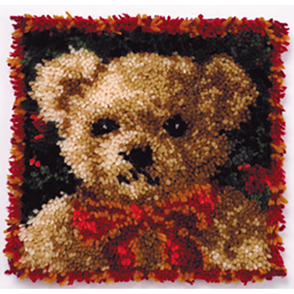 Girl Bear Latch Hook Pillow Kit