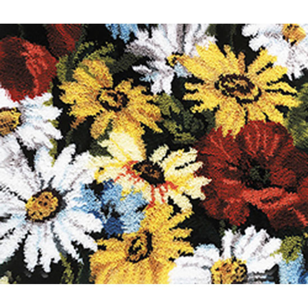 Daisies and Poppies Latch Hook Rug Kit