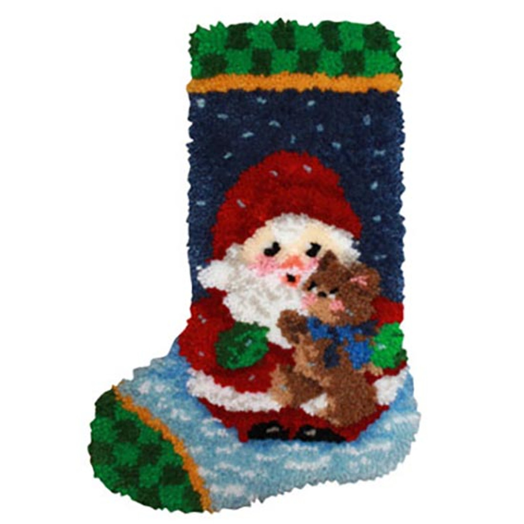 Christmas Stocking Kit.Roly Poly Santa Latch Hook Christmas Stocking Kit