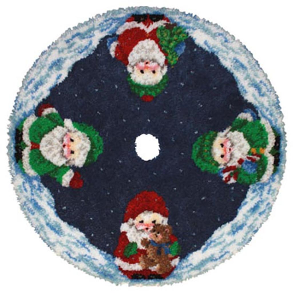 Santa Latch Hook Christmas Tree Skirt Kit