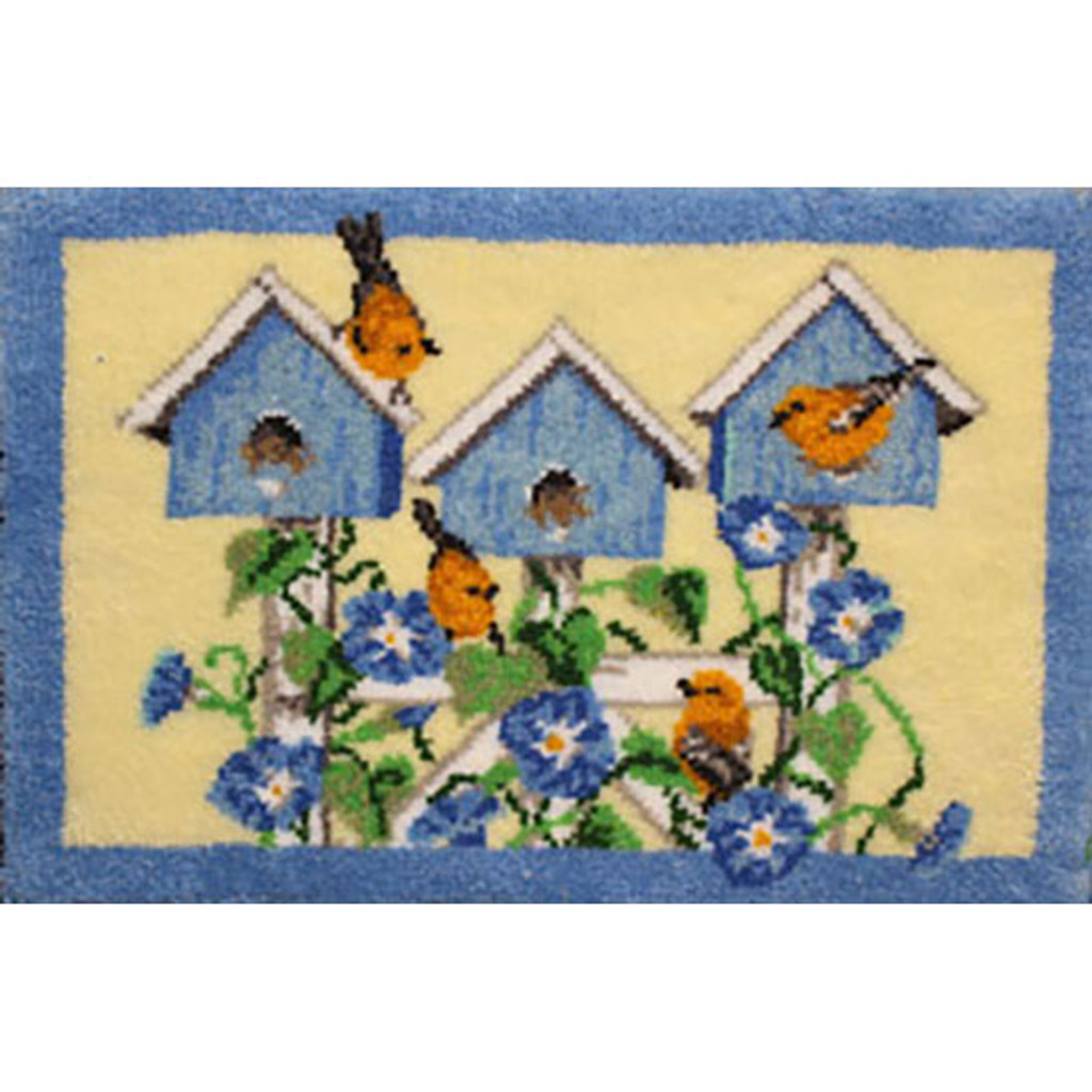 Bird Houses Latch Hook Rug Kit