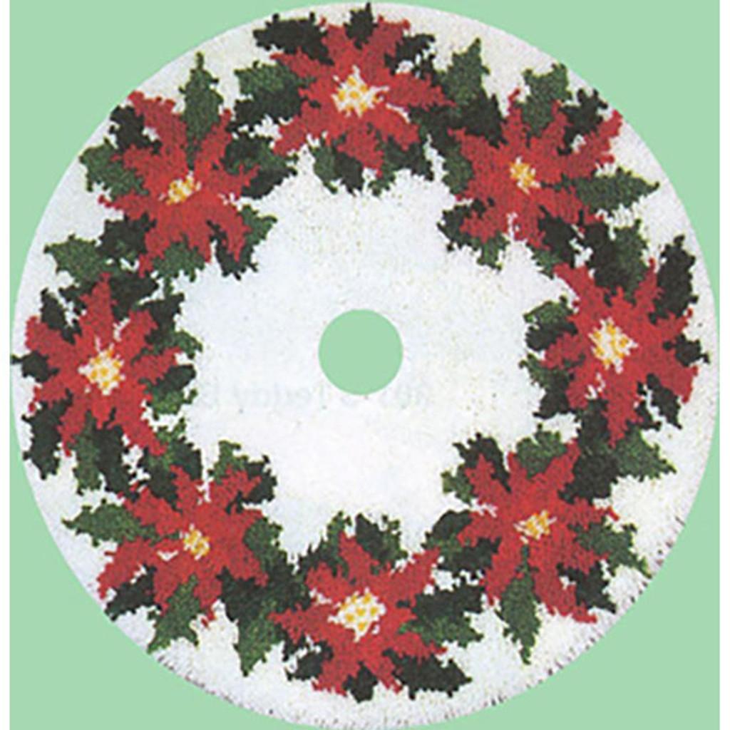 Poinsettia Latch Hook Christmas Tree Skirt