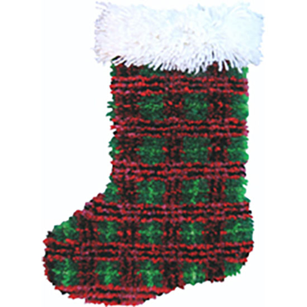 Plaid Latch Hook Christmas Stocking Kit