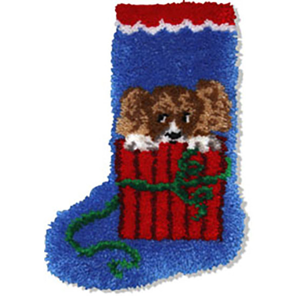 Puppy  Latch Hook Christmas Stocking Kit