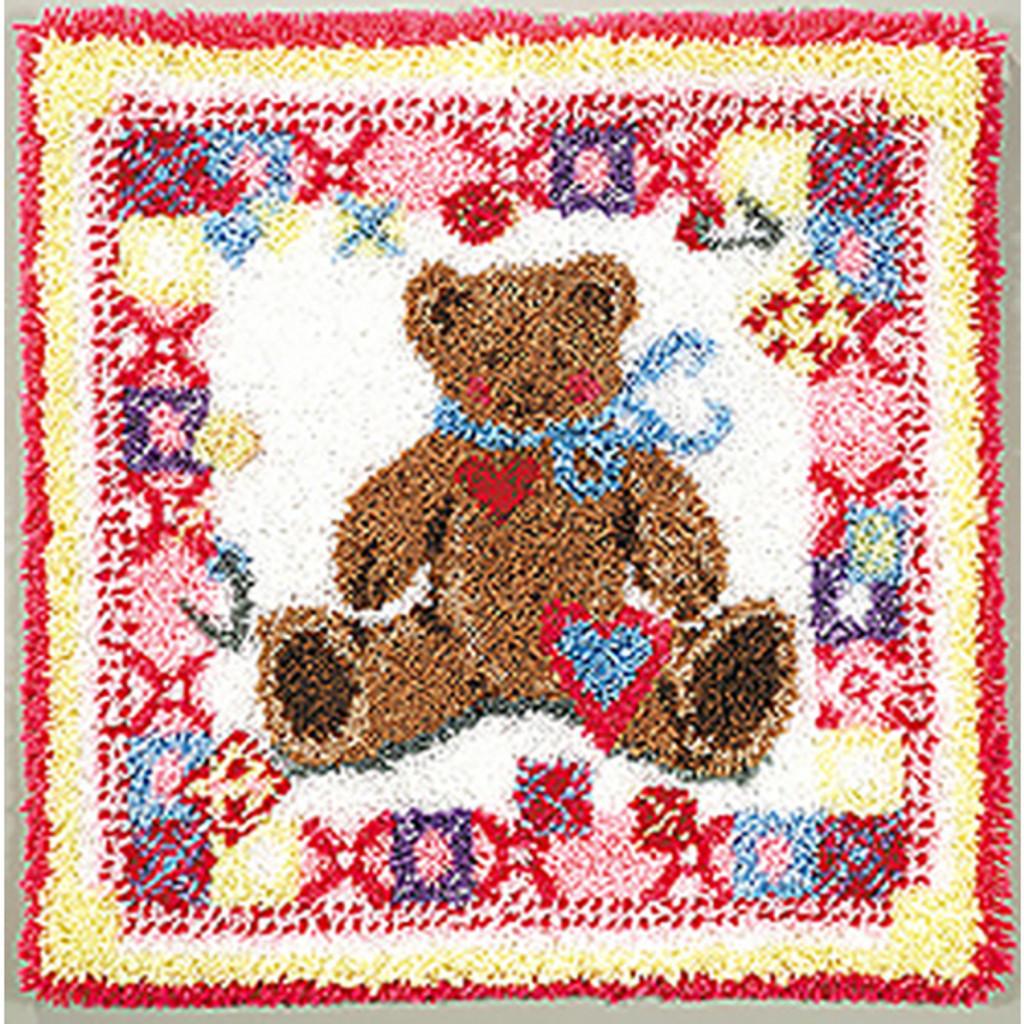 Teddy Bear Block Latch Hook Rug Kit