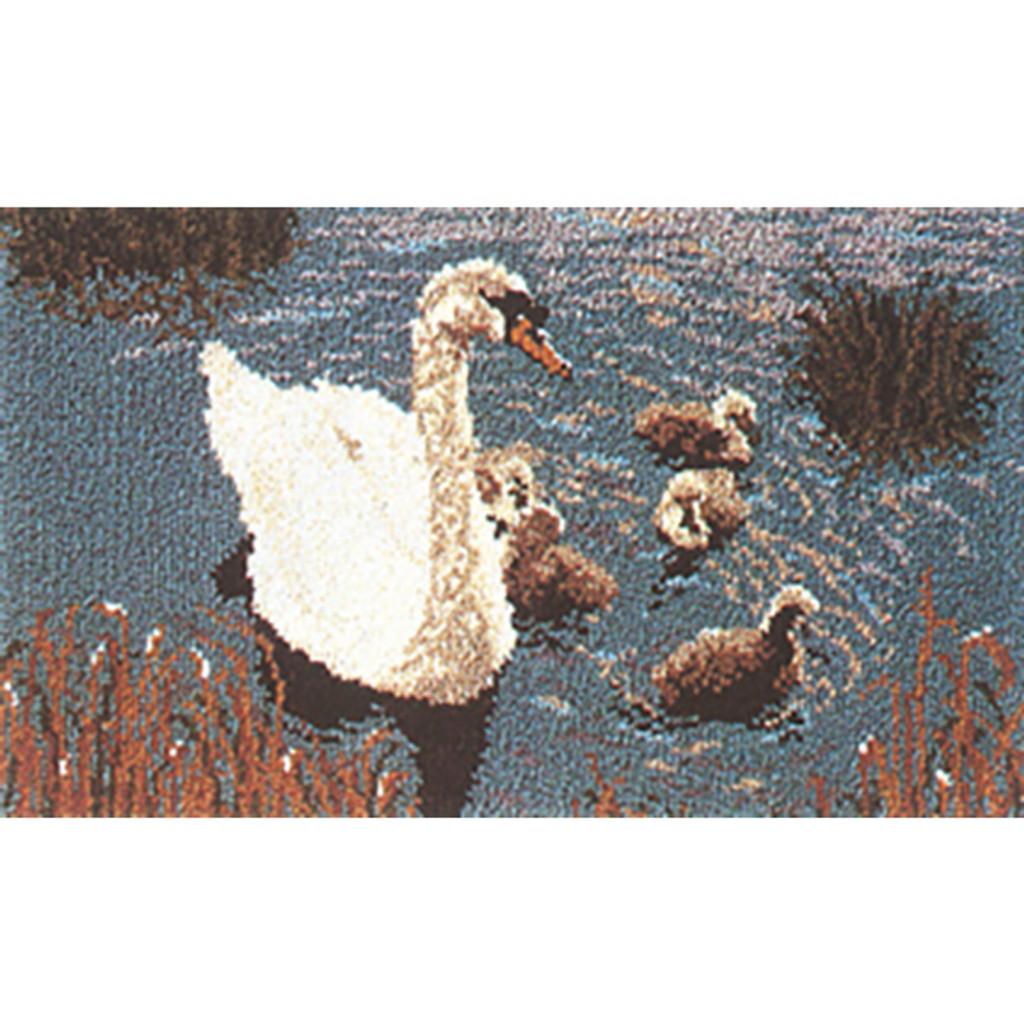 Swan and Cygnets Latch Hook Rug Kit
