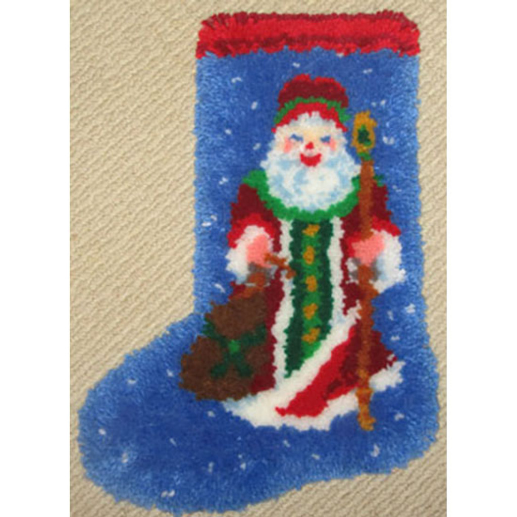 Olde World Latch Hook Christmas Stocking