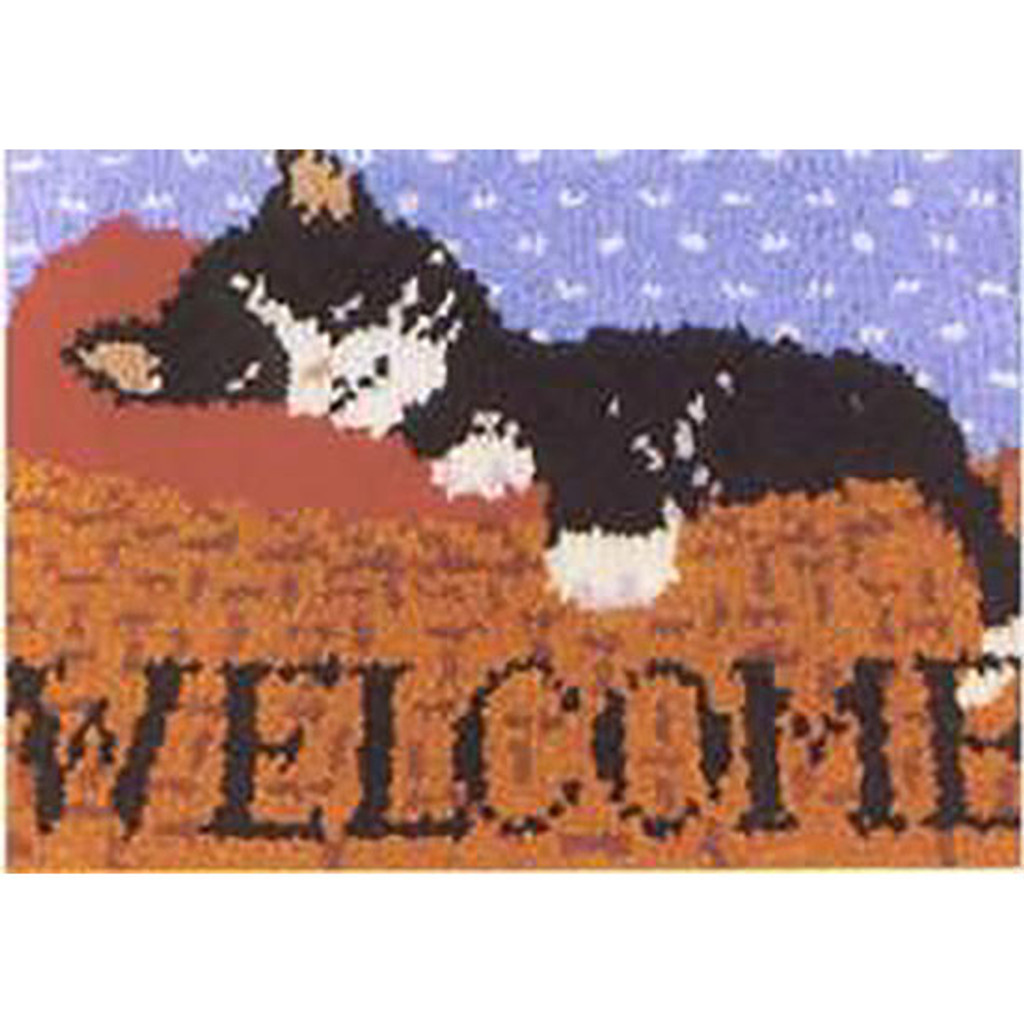 Cat Nap Welcome Latch Hook Rug