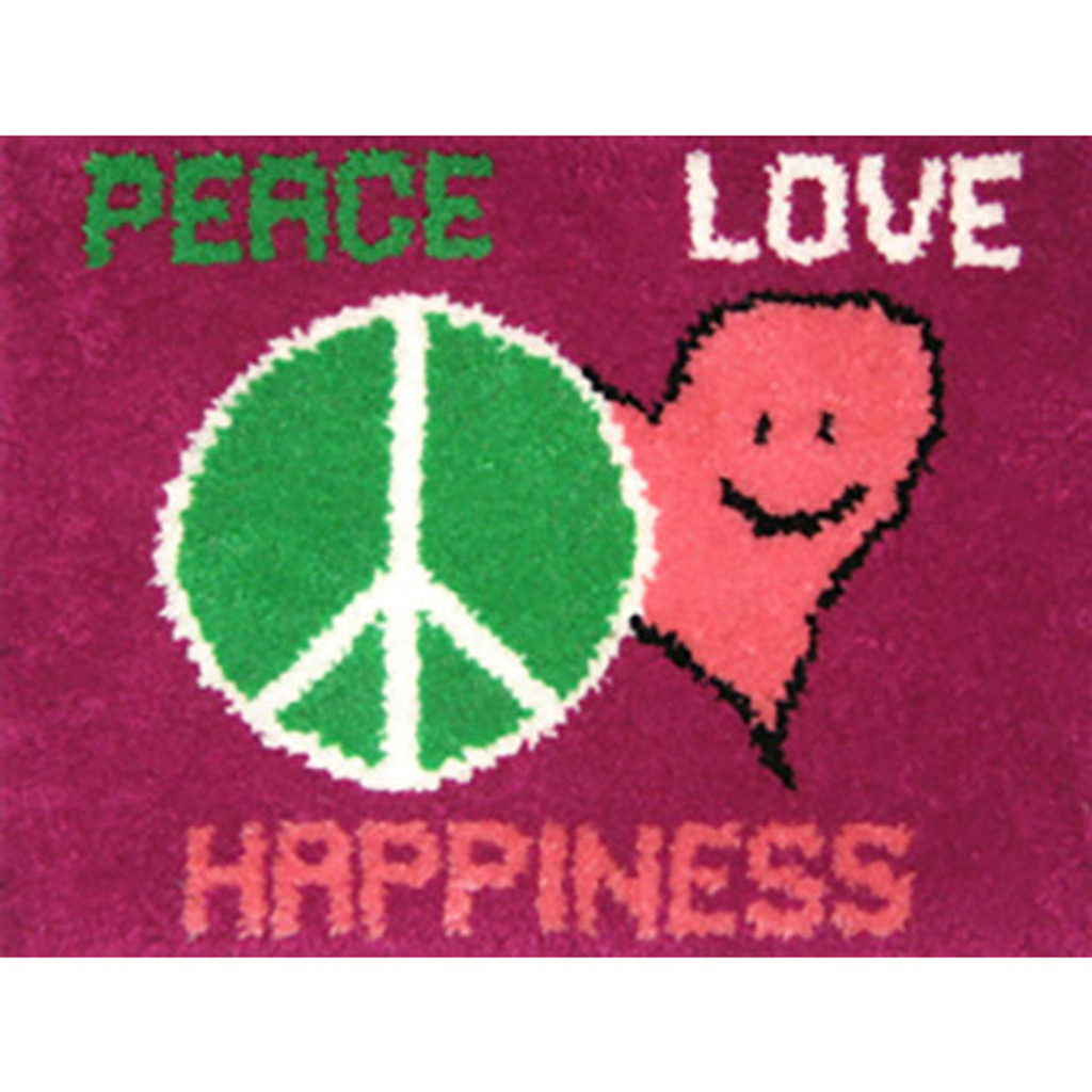 Peace, Love , Happiness Latch Hook Rug