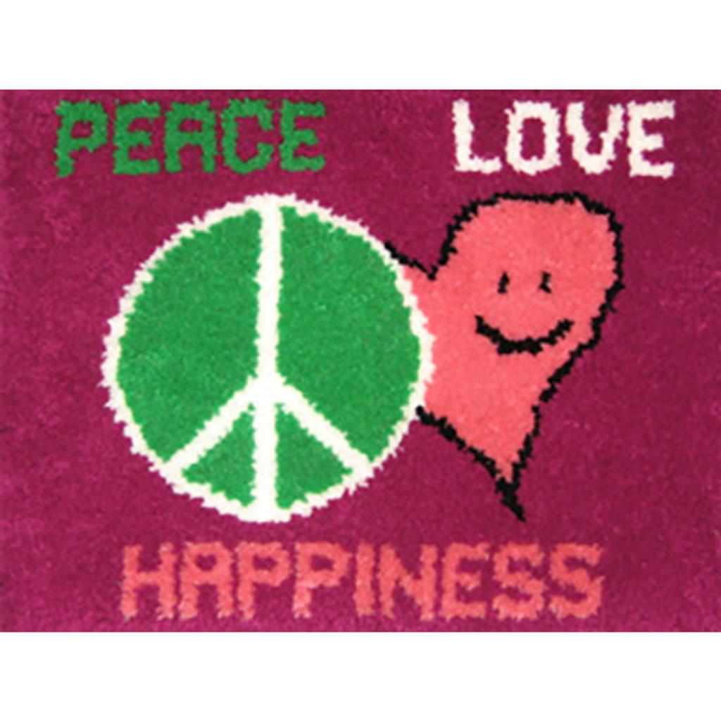 Peace, Love , Happiness Latch Hook Rug