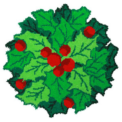 Holly Leaves and Berries Shaped Latch Hook Rug Kit