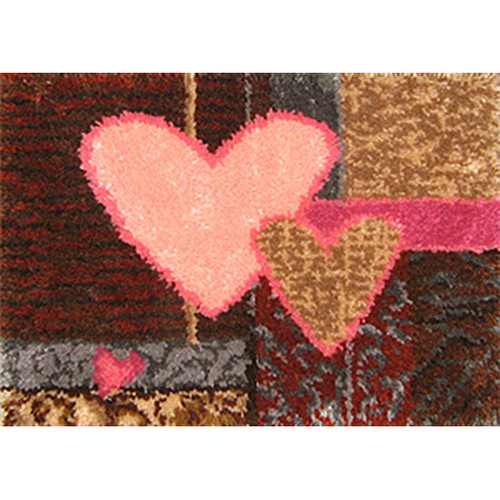 Heart Geometric Latch Hook Rug Kit