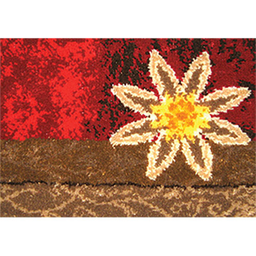 Red Floral Geometric Latch Hook Rug Kit